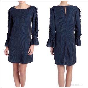 Luxology Pin Stripe Ruffle Sleeves Dress
